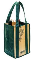 4 bottle wine tote with  sewn-in partitions.